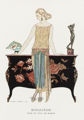 Plakat Elegancka kobieta w stroju dziennym