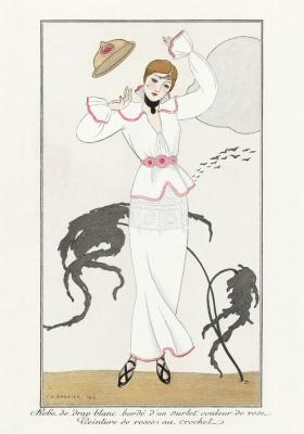 Plakat Kobieta w białym kostiumie z kapeluszem