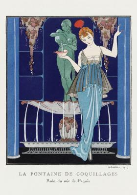 Plakat Kobieta w eleganckiej sukni przy fontannie