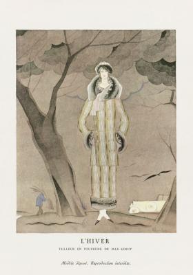 Plakat Kobieta w jesiennym płaszczu