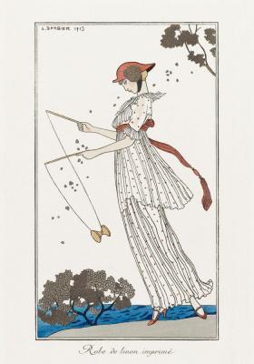 Plakat Młoda dziewczyna w kostiumie w kropki
