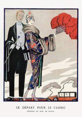 Plakat Para w eleganckich strojach wizytowych