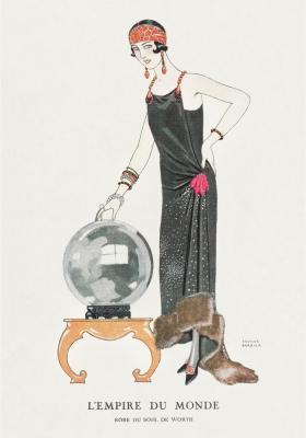 Plakat Wytworna kobieta w długiej sukni