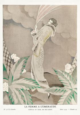 Plakat Zalotna kobieta z chustą w ręce