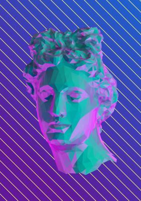 Plakat Antyczna rzeźba na pasiastym tle