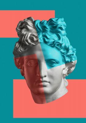 Plakat Głowa antycznej postaci na geometrycznym tle