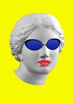 Plakat Popiersie w okularach przeciwsłonecznych