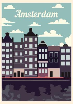Plakat Kamienice  w Amsterdamie