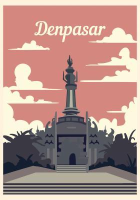 Plakat Pomnik w Denpasar
