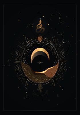 Plakat Astrologiczny motyw na czarnym tle