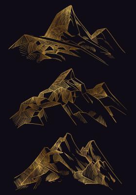 Plakat Skaliste góry na czarnym tle
