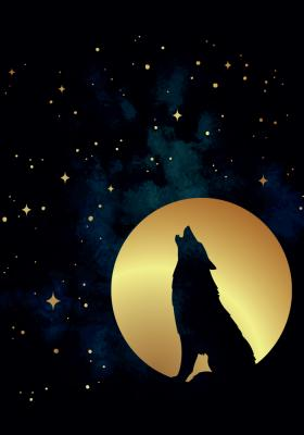 Plakat Wilk na tle księżyca
