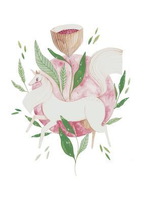 Plakat Jednorożec przy kwiatowym kielichu