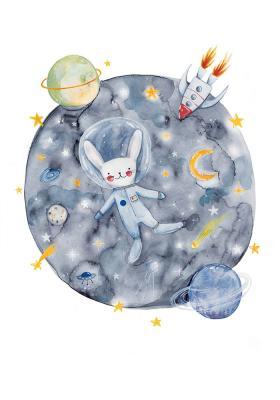 Plakat Królik astronauta w kosmosie