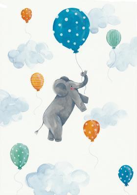 Plakat Słonik z balonem w chmurach