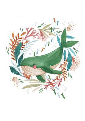 Plakat Wieloryb w kwiatowym okręgu