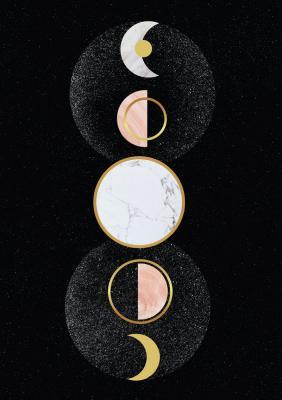 Plakat Fazy księżyca ze złoconymi elementami