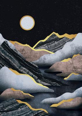 Plakat Złocony górzysty krajobraz