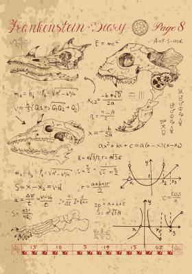 Plakat Anatomia czaszek i matematyczne obliczenia