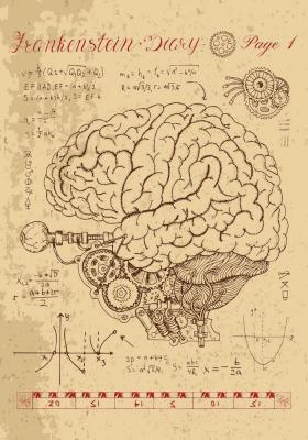 Plakat Anatomia mózgu z metalowym mechanizmem