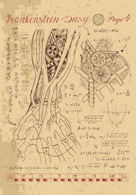 Plakat Anatomia ręki z mechanicznym elementem