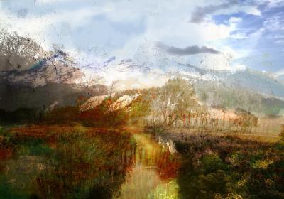Fototapeta Górski krajobraz z postarzaną teksturą