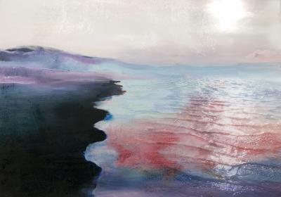 Fototapeta Krajobraz z taflą różowej wody