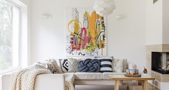 Abstrakcyjny obraz z wieżowcami