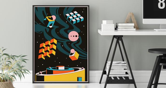 Abstrakcyjny plakat z przestrzenią