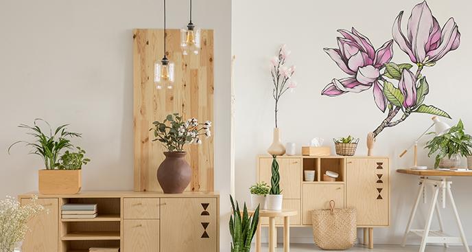 Akwarelowa naklejka magnolia