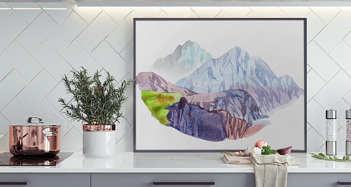 Akwarelowy plakat z górami