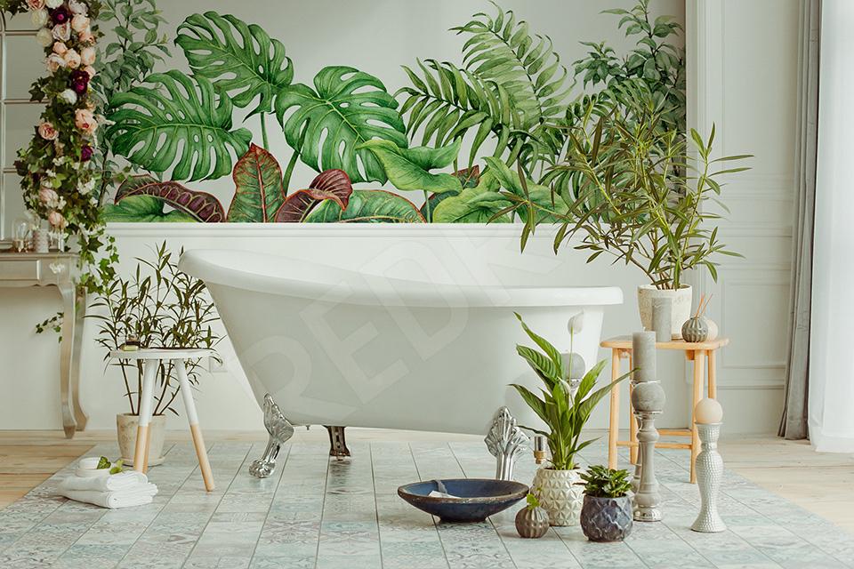 Fototapeta zielone liście w łazience pełnej roślin