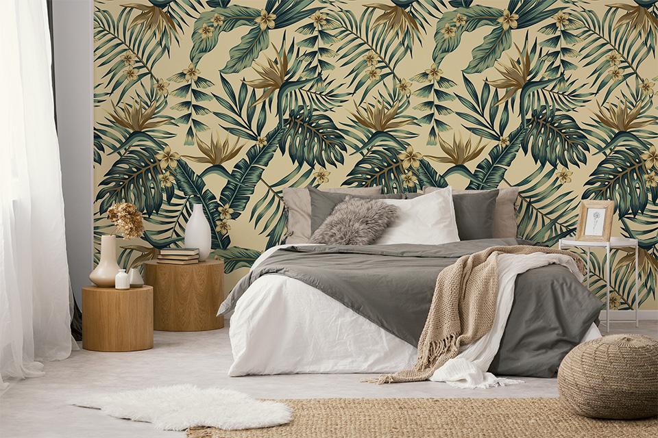 Kwiatowa inspiracja ścienna do metamorfozy sypialni