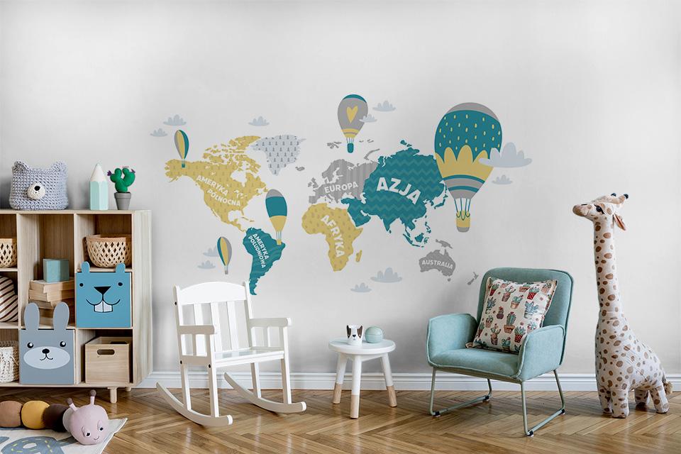 Mapa świata dla dzieci po polsku z balonami