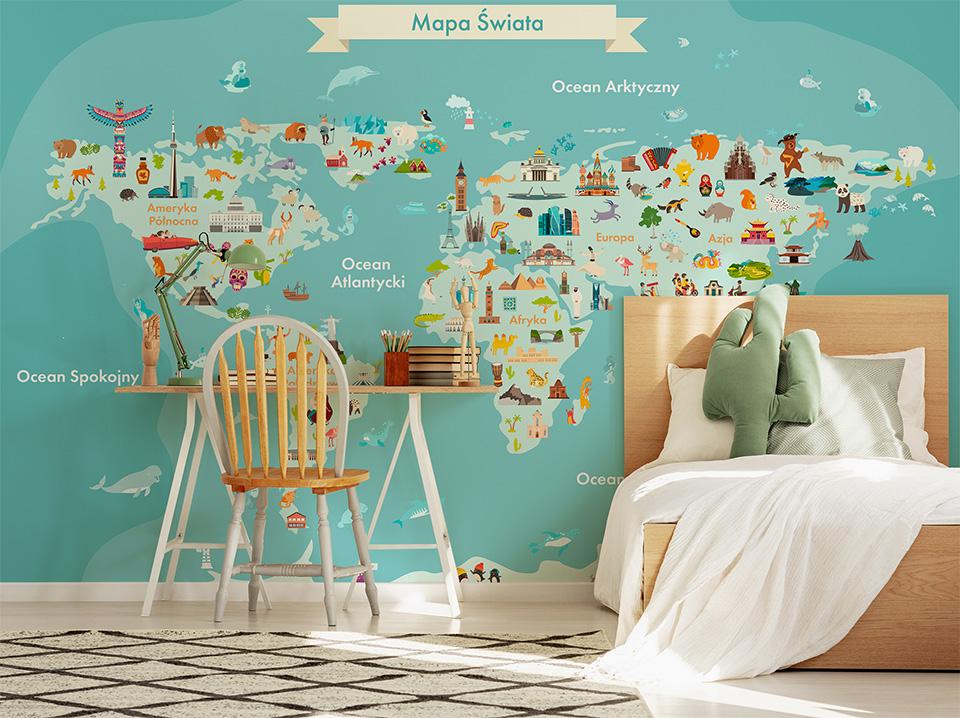Mapa świata dla dzieci z zabytkami