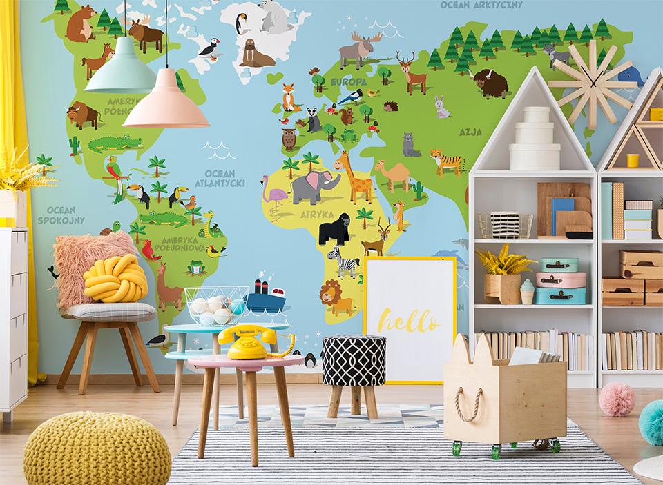 Mapa świata dla dzieci ze zwierzętami