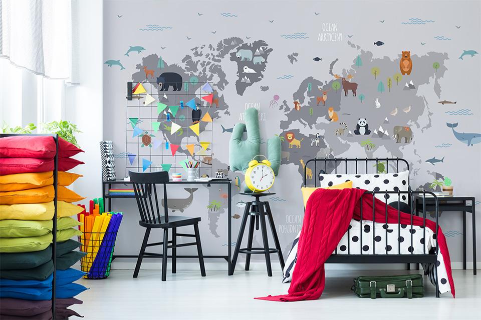 Minimalistyczna mapa świata dla dzieci