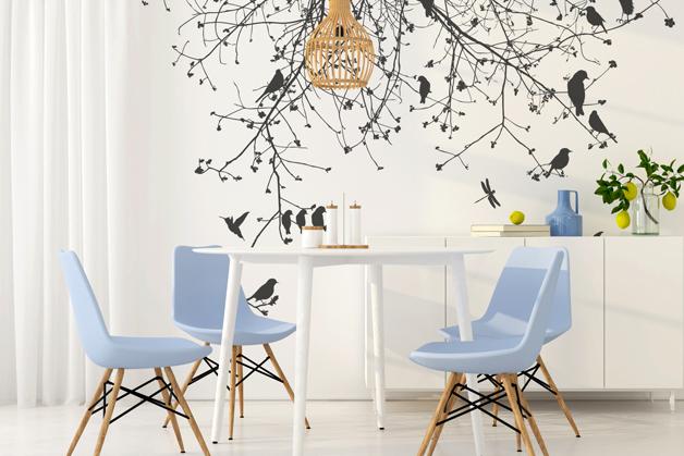 Naklejka - Gałęzie i ptaki