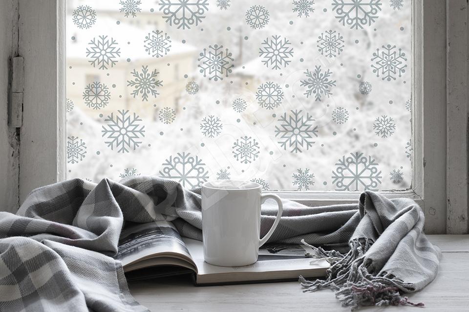 naklejka na okno śnieżynki
