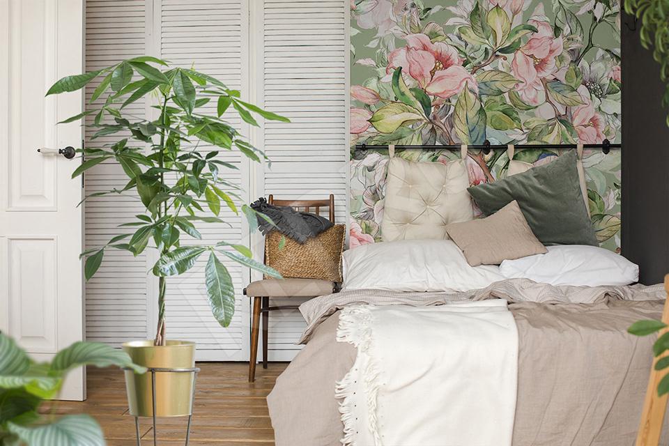 Roślinna fototapeta w sypialni