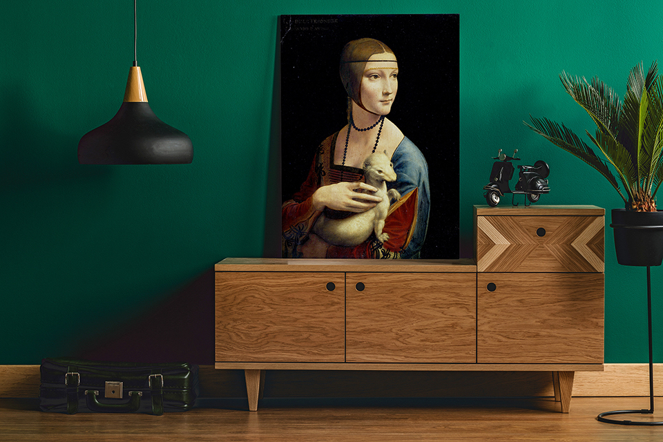 Ten niezwykle popularny obraz Leonarda da Vinci, sprawdzi się doskonale we wnętrzu, w którym dominują drewniane, starodawne przedmioty o nieco sentymentalnym charakterze