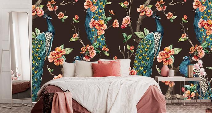 Botaniczna tapeta do sypialni