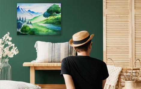 Letni obraz malowany akwarelą