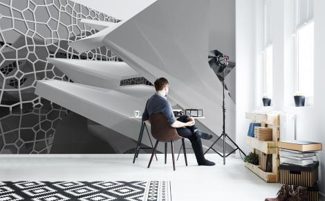 Czarno-biała fototapeta 3D