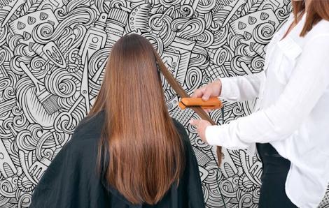 Czarno-biała fototapeta do salonu fryzjerskiego