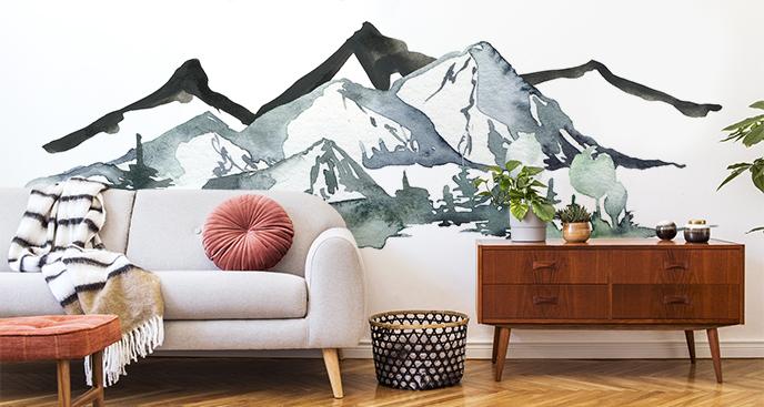 Czarno-biała fototapeta góry