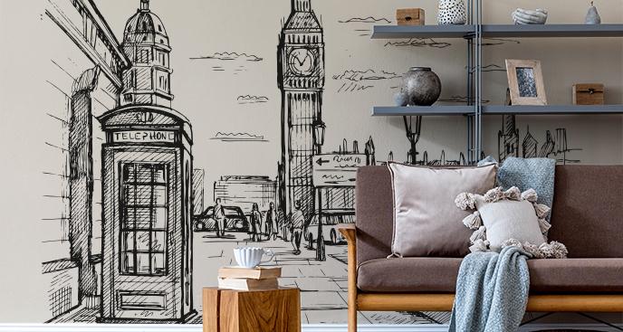 Czarno-biała fototapeta Londyn