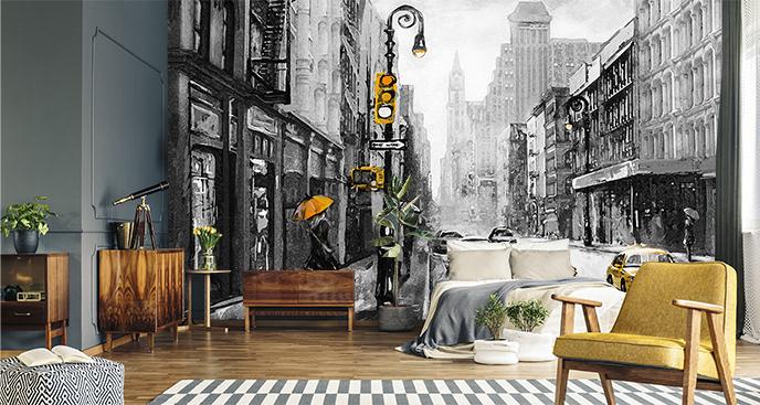 Czarno-biała fototapeta miasto