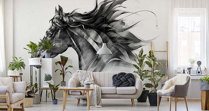 Czarno-biała fototapeta z koniem