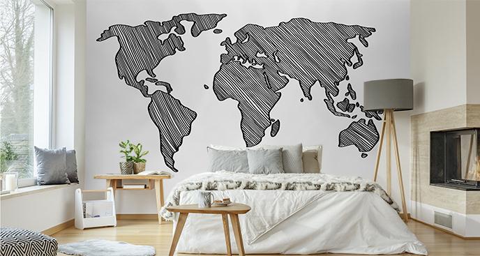 Czarno-biała fototapeta z mapą